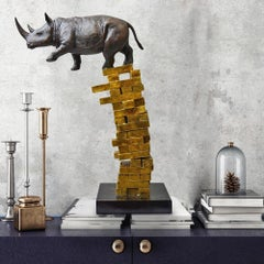 Bronze Sculpture - Art - Limited Edition - Animals - Rhino - Gets Back Up - Hope