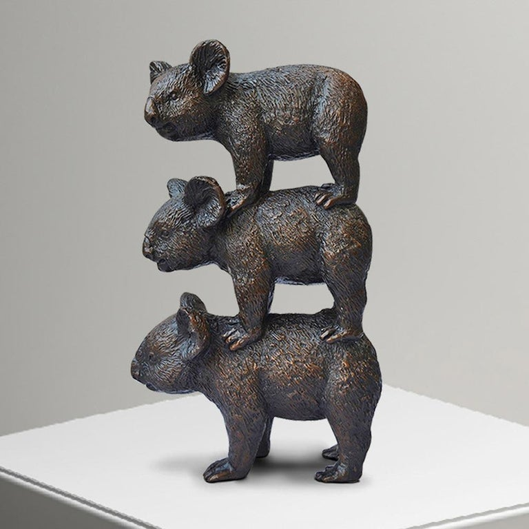 Title: Koalas always support each other Authentic bronze sculpture with green patina Limited Edition  World Famous Contemporary Artists: Husband and wife team, Gillie and Marc, are New York and Sydney-based contemporary artists who collaborate to
