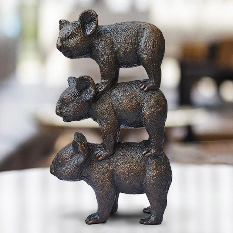 Bronze Sculpture - Art - Limited Edition - Australian Animal - Koala Stack For Sale 2