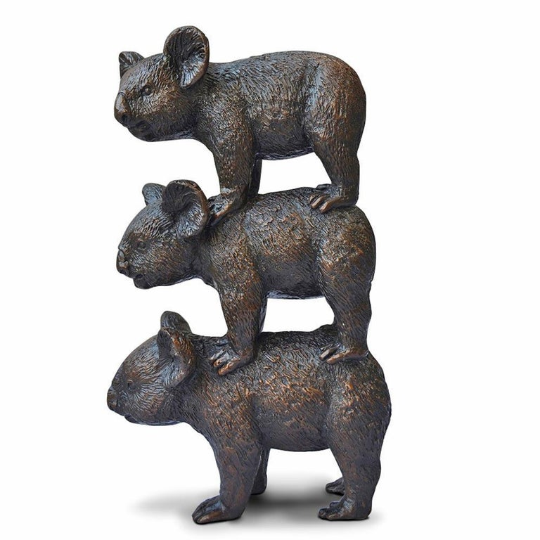 Bronze Sculpture - Art - Limited Edition - Australian Animal - Koala Stack For Sale 3