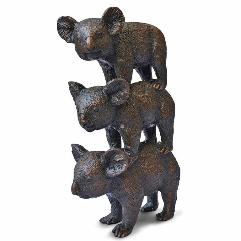Bronze Sculpture - Art - Limited Edition - Australian Animal - Koala Stack For Sale 4