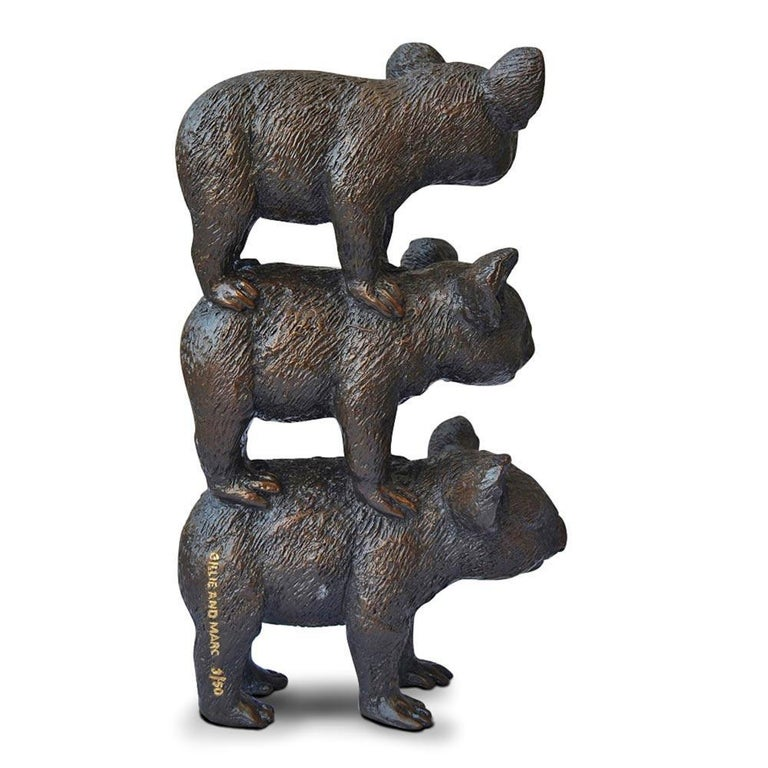 Bronze Sculpture - Art - Limited Edition - Australian Animal - Koala Stack For Sale 5