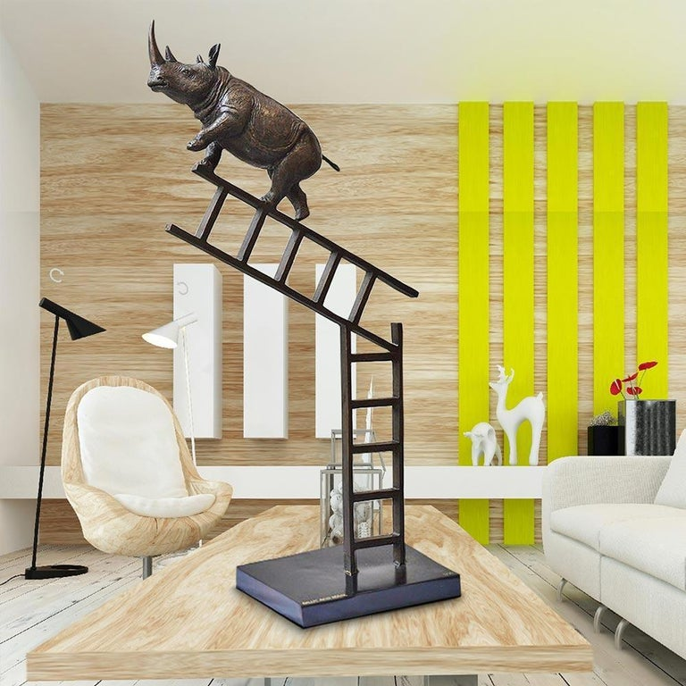Bronze Sculpture - Art - Limited Edition - Endangered Animal - Rhino - Ladder For Sale 3