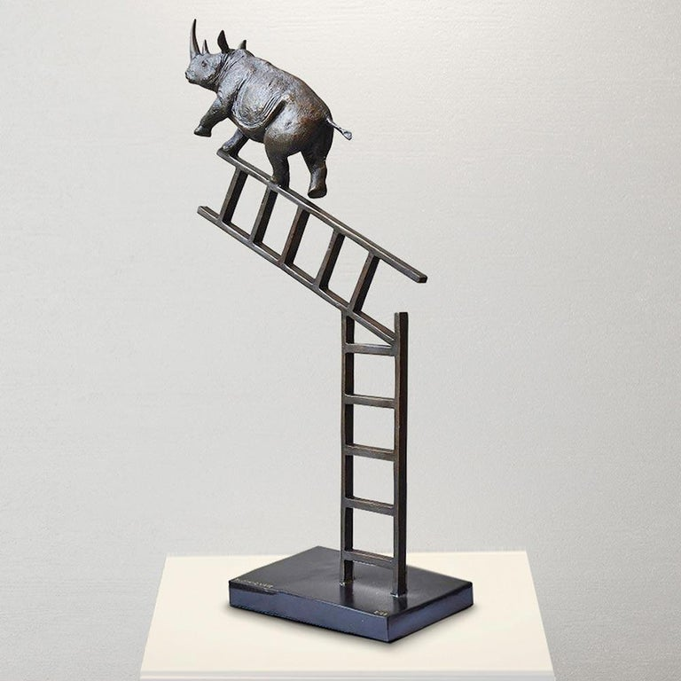 Bronze Sculpture - Art - Limited Edition - Endangered Animal - Rhino - Ladder For Sale 4