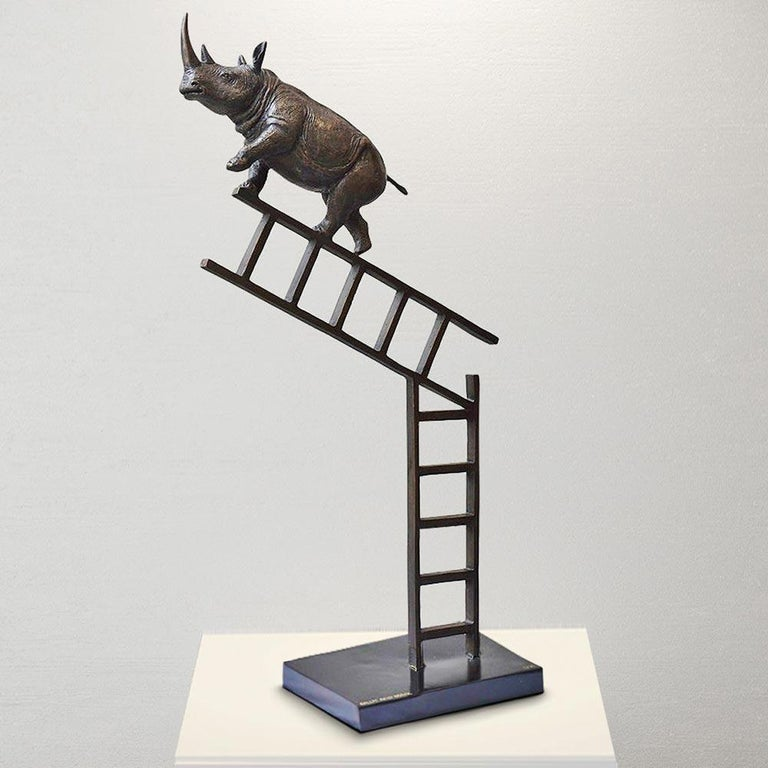 Bronze Sculpture - Art - Limited Edition - Endangered Animal - Rhino - Ladder For Sale 5