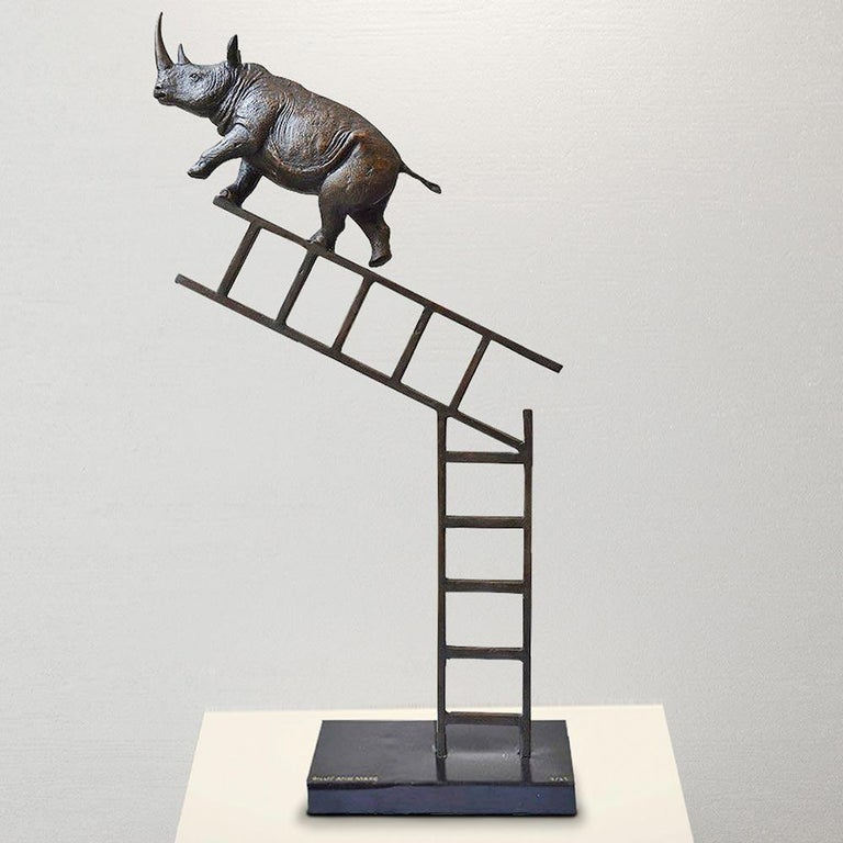 Bronze Sculpture - Art - Limited Edition - Endangered Animal - Rhino - Ladder For Sale 6