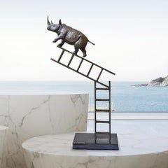 Bronze Sculpture - Art - Limited Edition - Endangered Animal - Rhino - Ladder