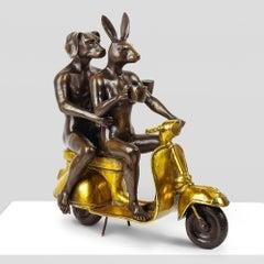 Bronze Sculpture - Gillie and Marc - Limited Edition - Pop Art - Vespa - Gold
