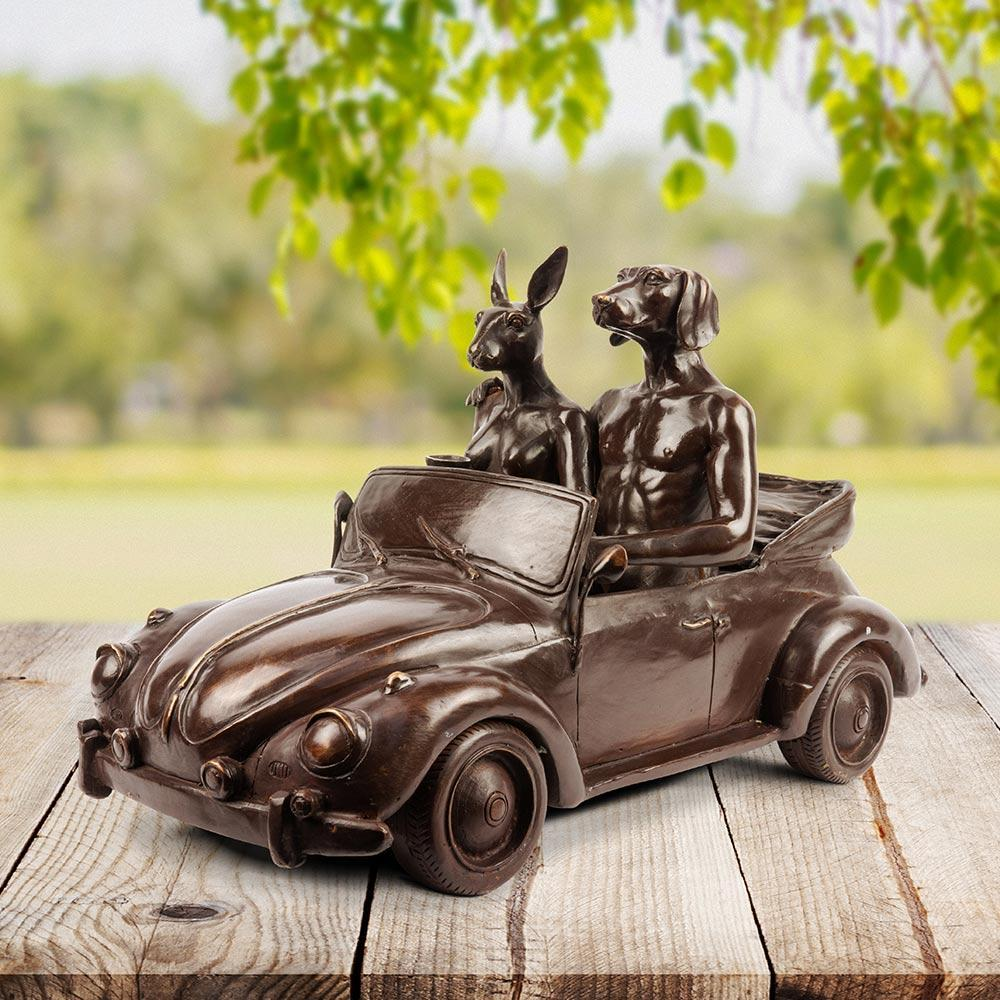Bronze Sculpture - Gillie and Marc - Limited Edition - Rabbit - Dog - VW Bug Car