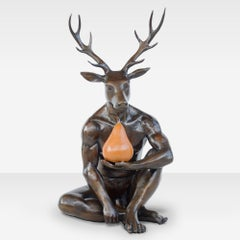 Bronze Sculpture - Limited Edition Art - Deer with Orange Patina Pear