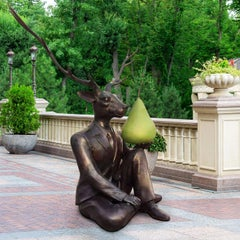 Bronze Sculpture - Limited Edition Art - Outdoor - Deer with Green Patina Pear