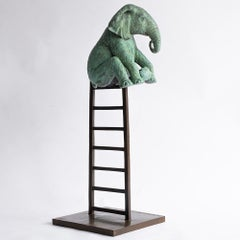 Bronze Sculpture - Limited Edition - Elephant reaches new heights - Green Patina