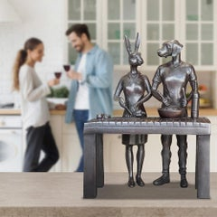 Bronze Sculpture - Limited Edition - Gillie and Marc - Rabbit - Dog - Cooking