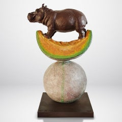 Bronze Sculpture - Limited Edition - Love - Hippo - Cantaloupe - Wildlife - Kiss