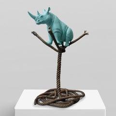 Bronze Sculpture - Limited Edition - Rhino - Rope - Tree - Wildlife - Love