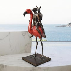 Bronze Sculpture - Limited Edition - Travel - Love - Art - Flamingo - Red Patina