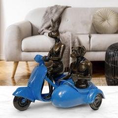 Bronze Sculpture - Limited Edition - Vespa Side Car Travel Art - Blue Patina