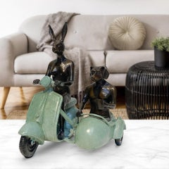 Bronze Sculpture - Limited Edition - Vespa Side Car Travel Art - Green Patina