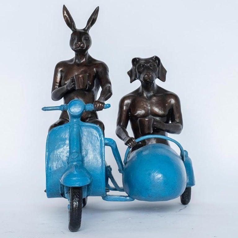 Bronze Sculpture - Limited Edition - Vespa Travel Adventure Art - Blue Patina 4