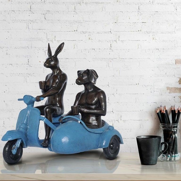 Bronze Sculpture - Limited Edition - Vespa Travel Adventure Art - Blue Patina 1