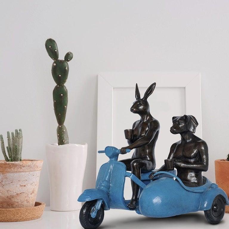 Bronze Sculpture - Limited Edition - Vespa Travel Adventure Art - Blue Patina 3