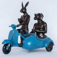 Bronze Sculpture - Limited Edition - Vespa Travel Adventure Art - Blue Patina