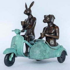 Bronze Sculpture - Limited Edition - Vespa Travel Adventure Art - Green Patina