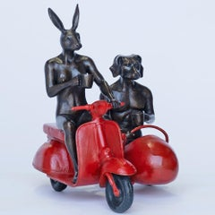 Bronze Sculpture - Limited Edition - Vespa Travel Adventure Art - Red Patina