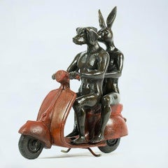 Bronze Sculpture - Red Vespa - Gillie and Marc - Rabbitwoman Dogman - Limited Ed