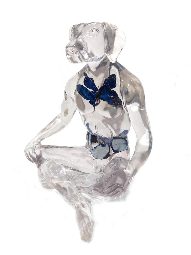 A whimsical yet very strong piece depicting the Weim character from Gillie and Marc's iconic figures of the Dog/Bunny Human Hybrid, which has picked up much esteem across the globe. Here we find Weim sitting crossed legged and with beautiful
