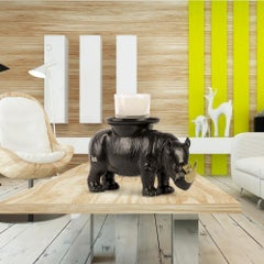 Ceramic Sculpture - Gillie and Marc - Rhino - Wildlife - Animals - Black & Gold