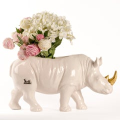 Ceramic Sculpture - Gillie and Marc - Rhino - Wildlife - Animals - White - Gold