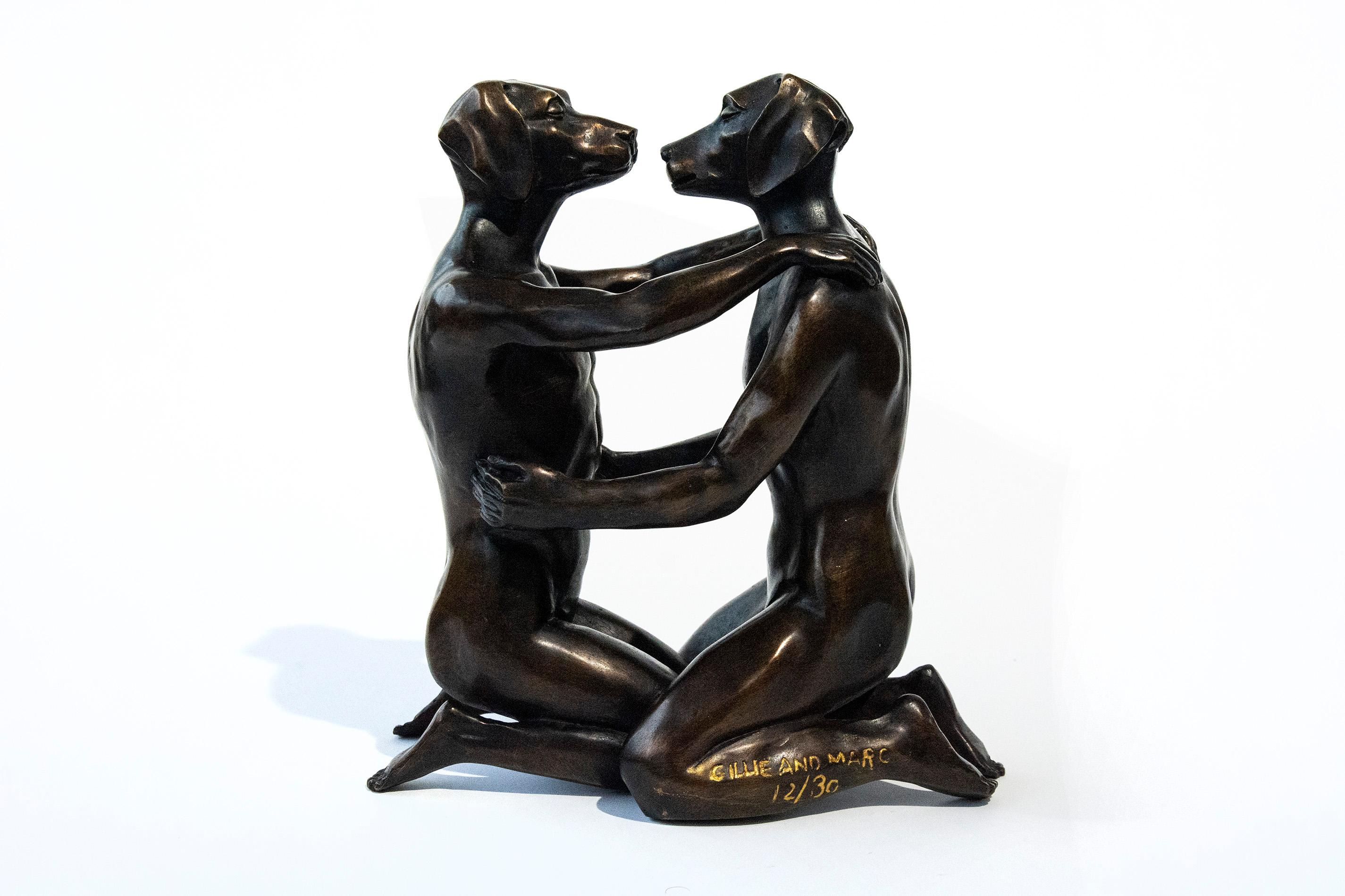 He loved being in love 12/30 - playful, figurative bronze sculpture