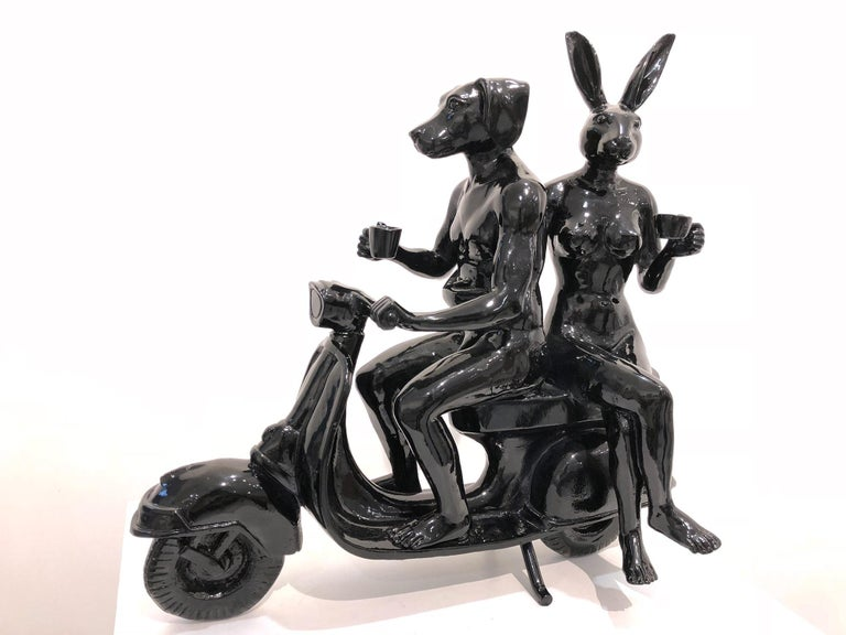 He Often Got Lost but She was Happy to Spend More Time Together - Sculpture by Gillie and Marc Schattner
