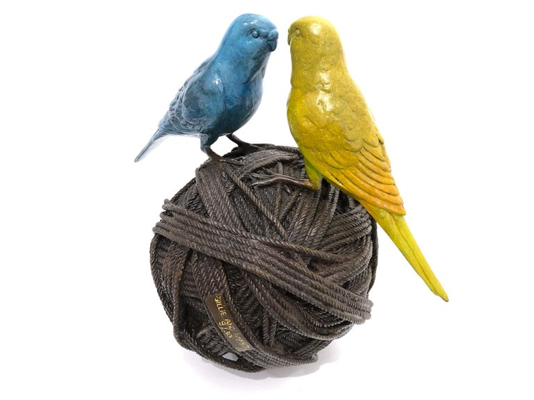 Life's a Ball (2 Budgies on a Ball), Bronze Abstract Sculpture For Sale 9