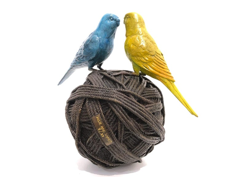 Life's a Ball (2 Budgies on a Ball), Bronze Abstract Sculpture - Gold Figurative Sculpture by Gillie and Marc Schattner