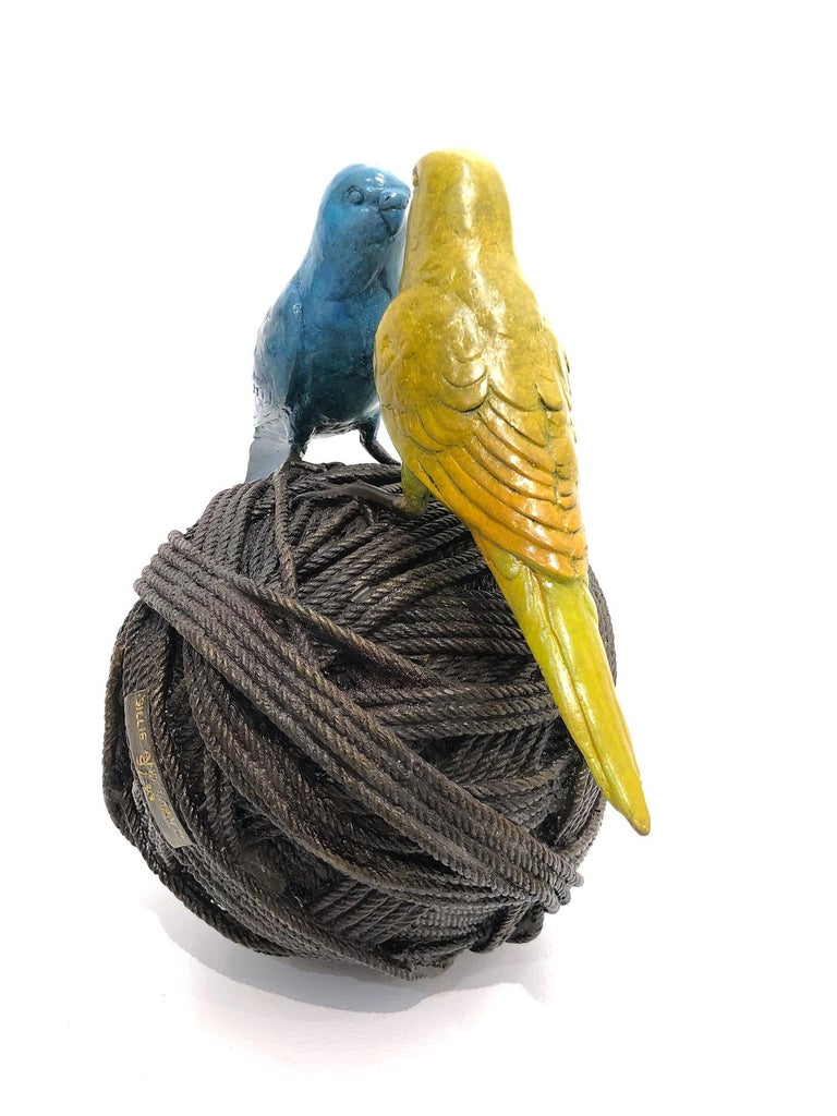 A wonderful yet very playful piece depicting 2 budgies on a ball of rope from Gillie and Marc's collection of artistic icons, which has picked up much esteem across the globe. Here we find this very balanced piece as the birds are facing each other