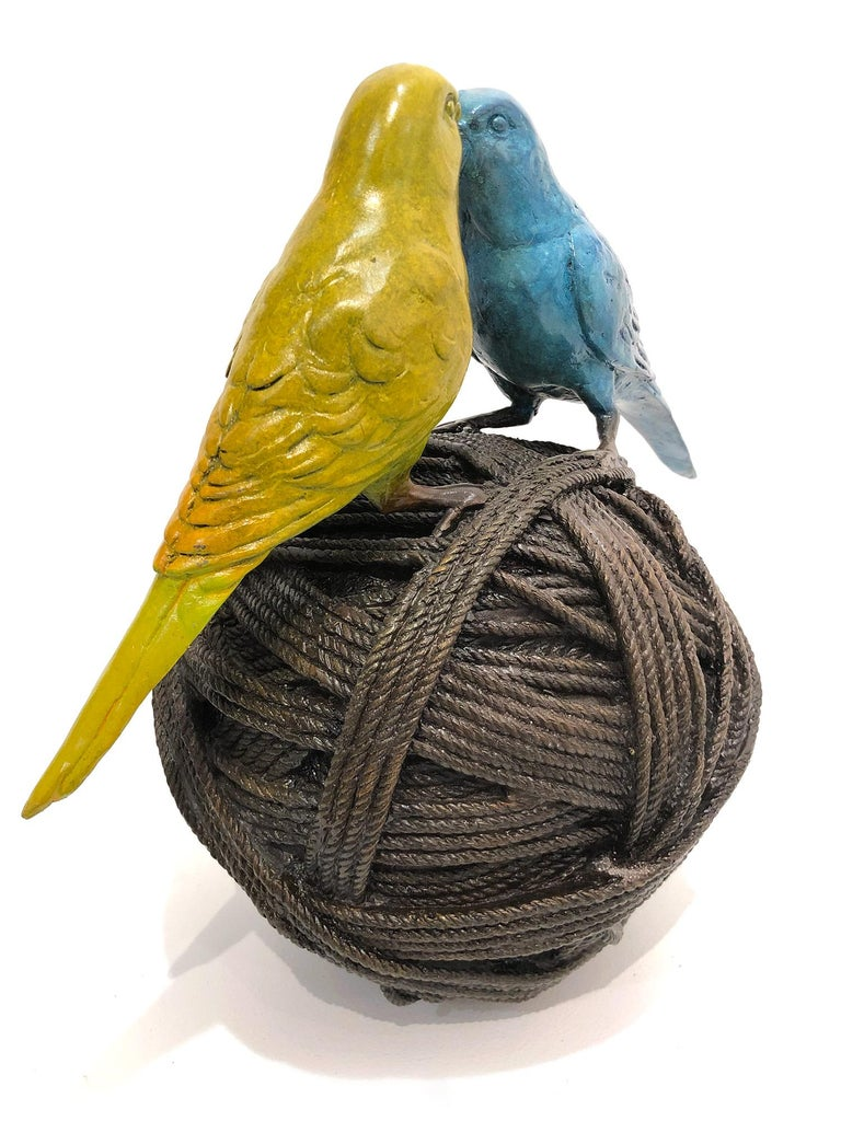 Life's a Ball (2 Budgies on a Ball), Bronze Abstract Sculpture For Sale 2