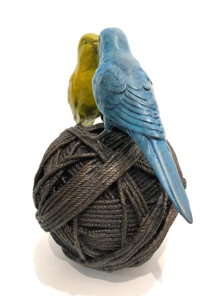 Life's a Ball (2 Budgies on a Ball), Bronze Abstract Sculpture For Sale 5