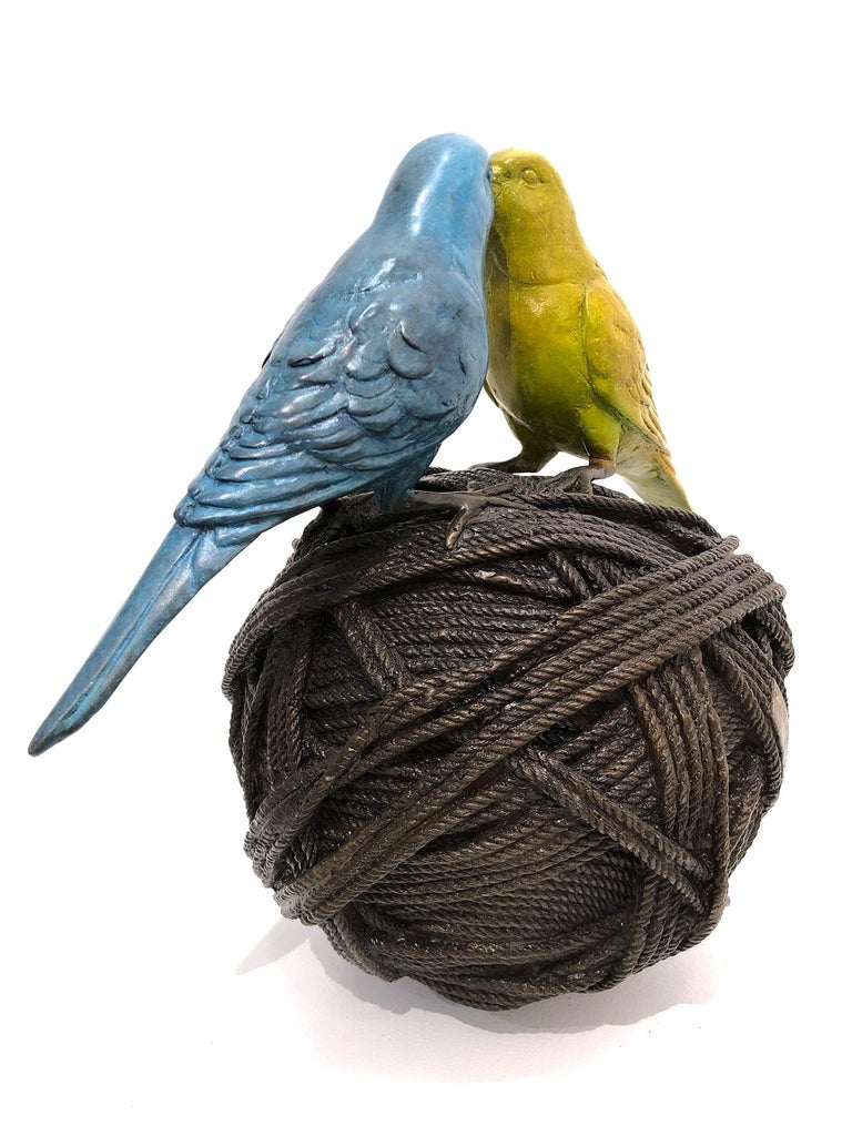 Life's a Ball (2 Budgies on a Ball), Bronze Abstract Sculpture For Sale 6