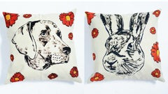 Linen Pillow Cushion Covers - Gillie and Marc - Animals - Rabbit - Dog - Love