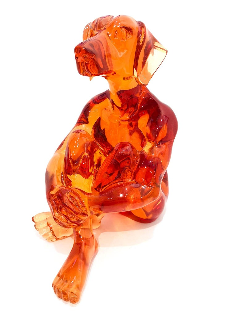 A whimsical yet very strong piece depicting the Dog Man from Gillie and Marc's iconic figures of the Dog/Bunny Human Hybrid, which has picked up much esteem across the globe. Here we find Dogman sitting crossed legged in a bright and fun Orange