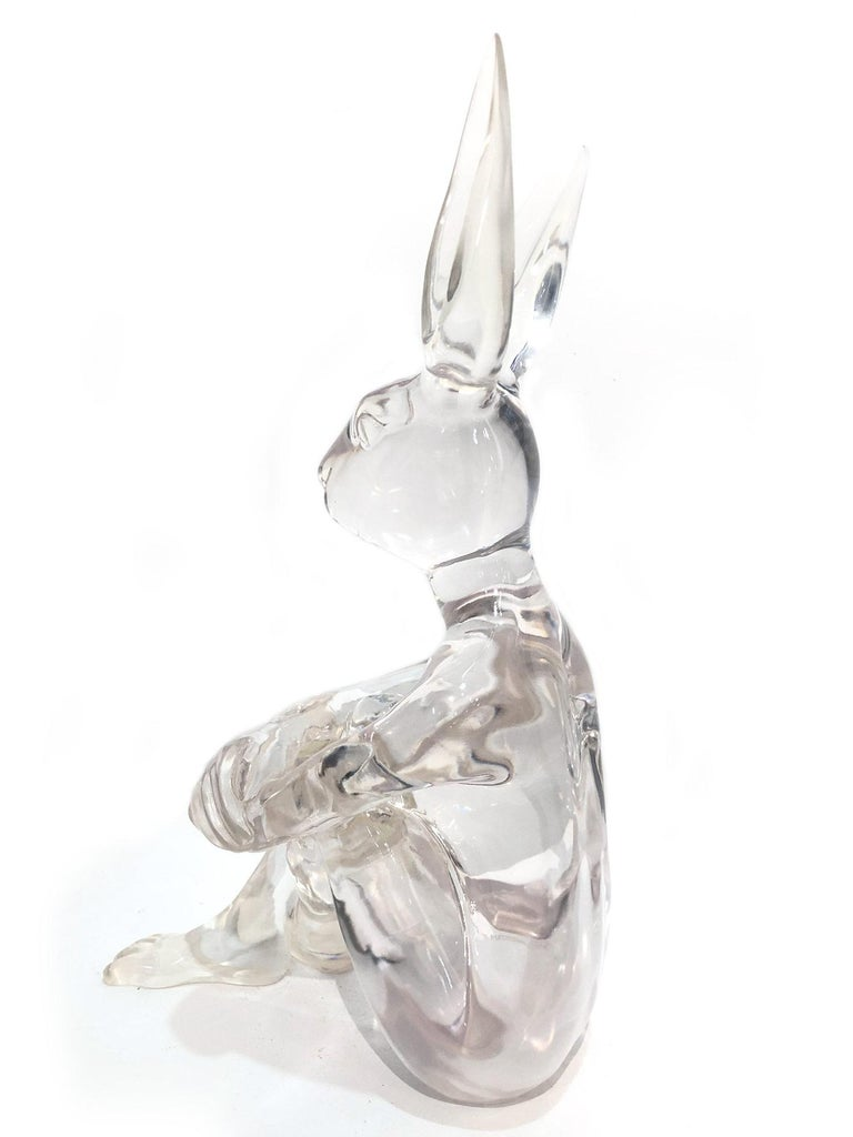 Lolly Rabbitgirl (Clear) - Gray Abstract Sculpture by Gillie and Marc Schattner
