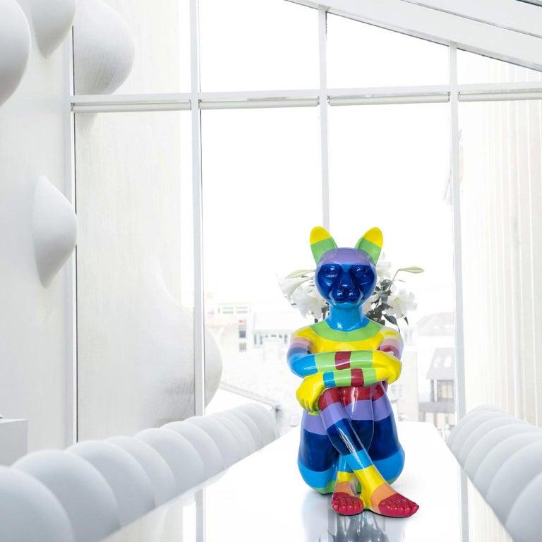 Pop Art - Sculpture - Art - Fibreglass - Gillie and Marc - Cat - Woman - Rainbow - Beige Figurative Sculpture by Gillie and Marc Schattner