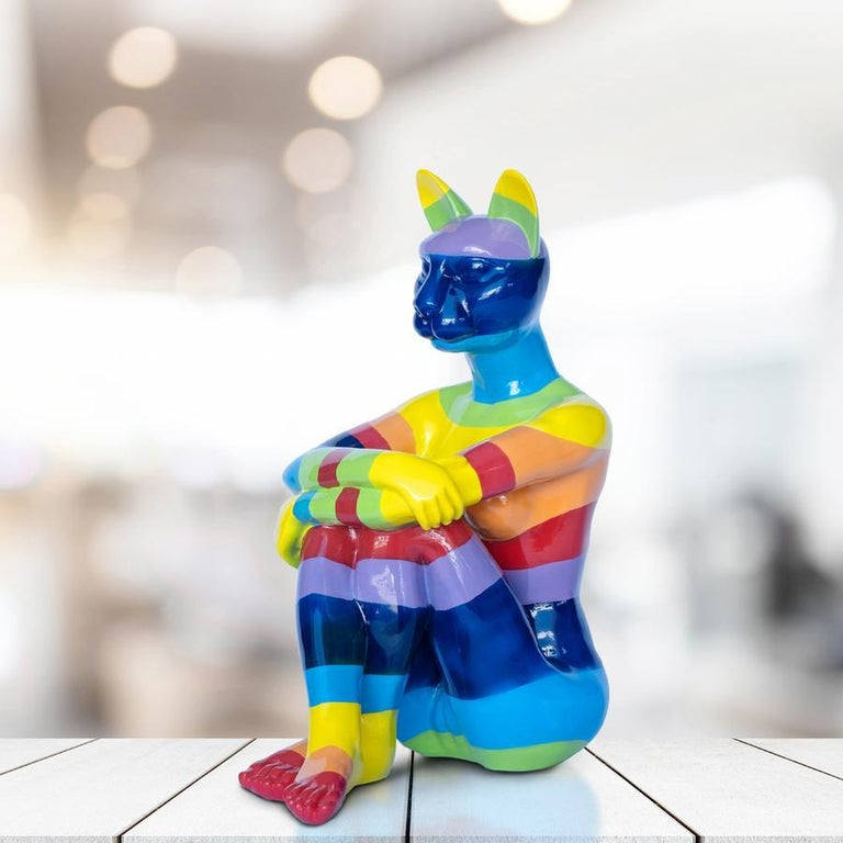 Title: Rainbow Lost Cat Authentic fibreglass sculpture Limited Edition  World Famous Contemporary Artists: Husband and wife team, Gillie and Marc, are New York and Sydney-based contemporary artists who collaborate to create artworks as one. Gillie
