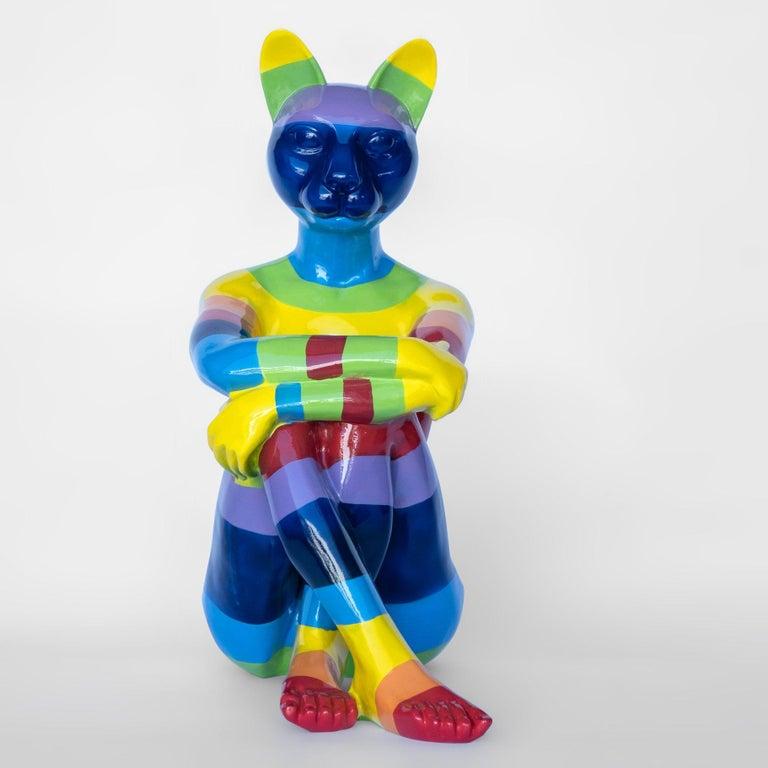 Pop Art - Sculpture - Art - Fibreglass - Gillie and Marc - Cat - Woman - Rainbow 1
