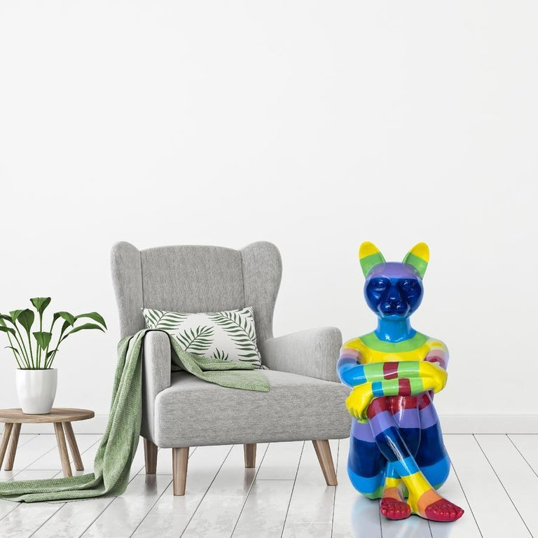 Pop Art - Sculpture - Art - Fibreglass - Gillie and Marc - Cat - Woman - Rainbow 4