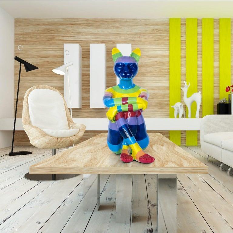 Pop Art - Sculpture - Art - Fibreglass - Gillie and Marc - Cat - Woman - Rainbow 5