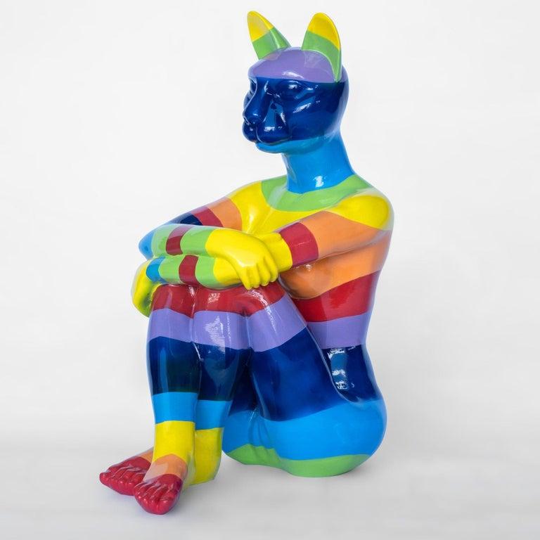 Gillie and Marc Schattner Figurative Sculpture - Pop Art - Sculpture - Art - Fibreglass - Gillie and Marc - Cat - Woman - Rainbow