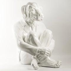 Pop Art - Sculpture - Art - Fibreglass - Gillie and Marc - Dog - Man -Suit White
